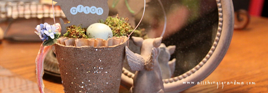 Peat Pot Place Cards for Easter Dinner